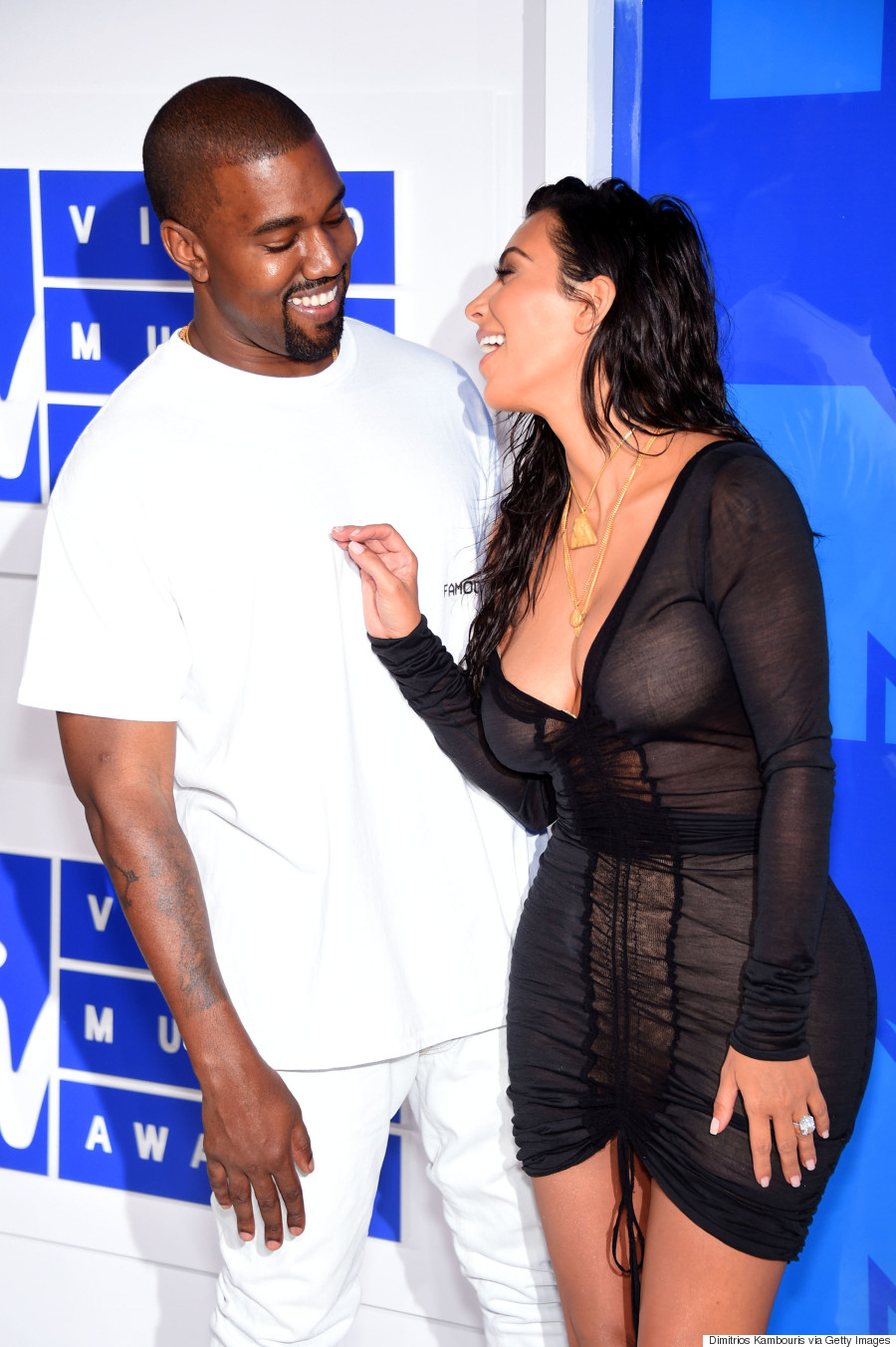 NEW YORK, NY - AUGUST 28: Kanye West (L) and Kim Kardashian attend the 2016 MTV Video Music Awards at Madison Square Garden on August 28, 2016 in New York City. (Photo by Dimitrios Kambouris/WireImage)